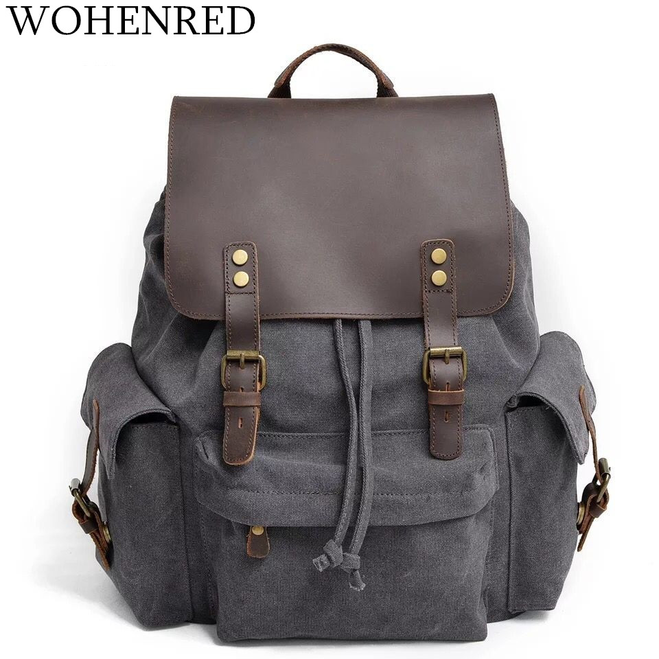 Men's Leather Canvas Backpack Large School Bag Gray Travel Rucksack Multifunction Boy Casual Daypack Vintage Laptop Backpacks men s canvas backpack vintage student school bags for teenagers laptop bag casual rucksack travel large capacity daypack