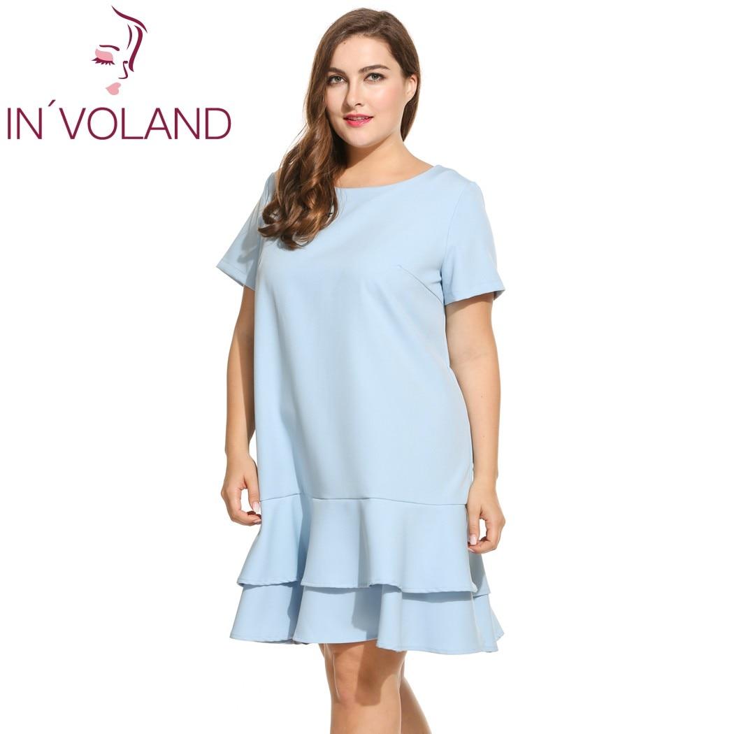 Heißer Verkäufer IN\'VOLAND Marke Plus Größe Kleid Für Frauen Kurzarm ...