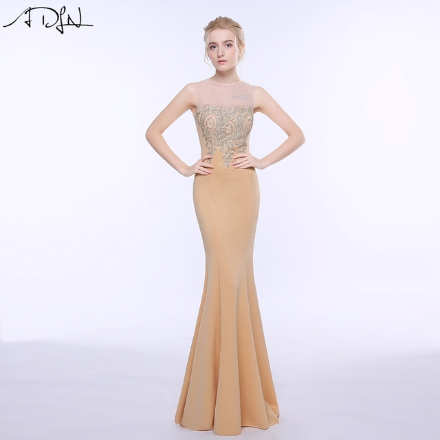 ADLN 2019 Mermaid Evening Dress with Gold Appliques Floor Length Women Formal Gowns Cheap Champagne Wedding Party Dresses