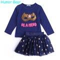 Humor bear bebê roupas de menina definir nova lantejoulas longa carta T-Shirt da luva + Estrelas Saia 2 PCS Roupas Menina Define Crianças roupas