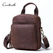 CONTACTS crazy horse genuine leather men messenger bag vintage bolsa mans waist packs small shoulder bags for men mini handbag