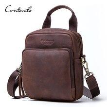 CONTACTS Мужская изящная сумка из натуральной кожи, в стиле винтаж Мужские сумки на ремне для мужчин большая емкость с карманом для мобильного телефона 2019