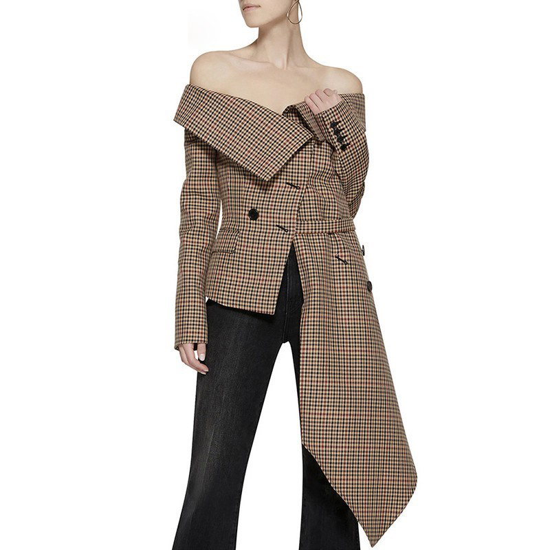 Off Shoulder Vintage Plaid Blazer Femme Jacket Long Sleeve Irregular Elegant Runway Designer Womens Coats Spring Autumn 2020 New