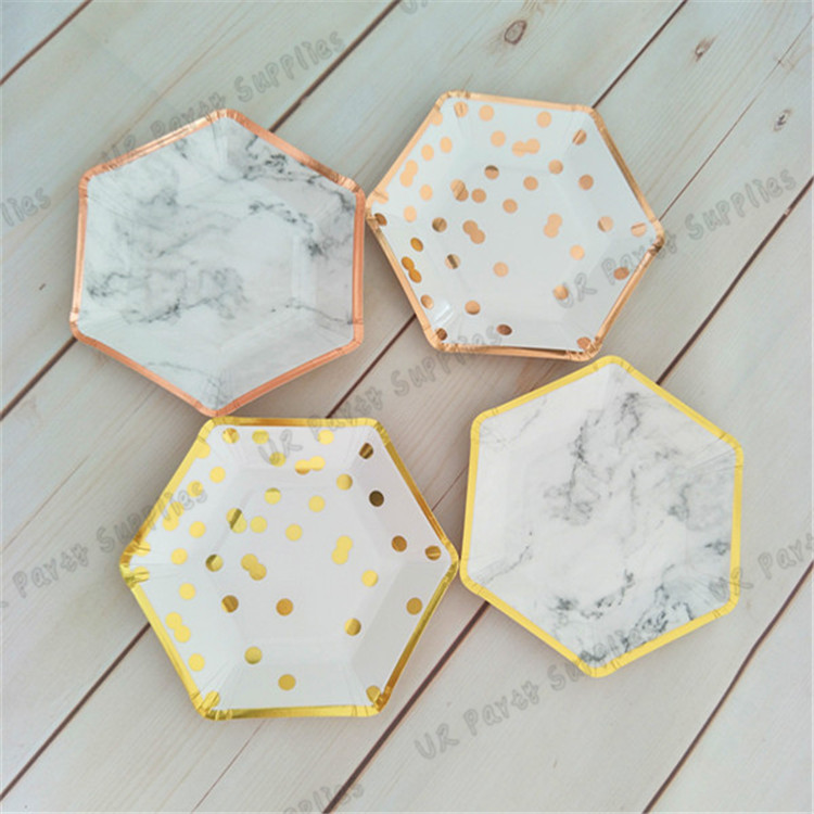 40pcs Marble Paper Plates Gold Small Trimmed Hexagon Party Plates Dessert Dishes for Engagement Bridal Shower Wedding -in Disposable Party Tableware from ...  sc 1 st  AliExpress.com & 40pcs Marble Paper Plates Gold Small Trimmed Hexagon Party Plates ...