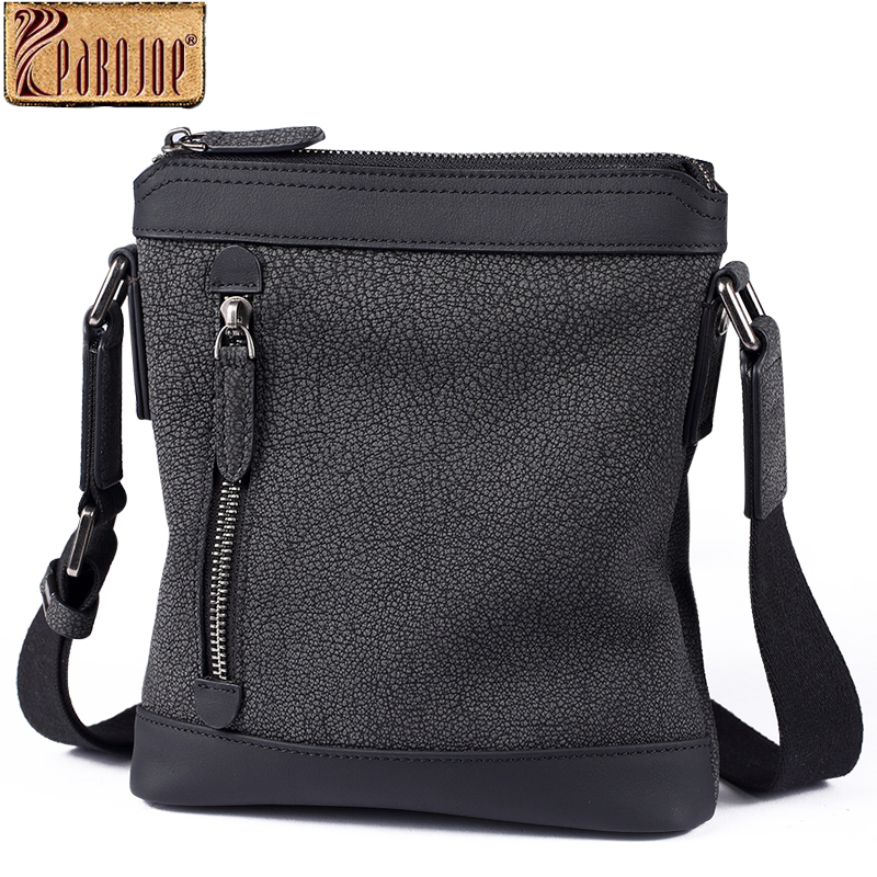 Pabojoe men shoulder bag genuine cowhide leather messenger bags for men small flap handbags genuine leather bag cowhide shoulder men