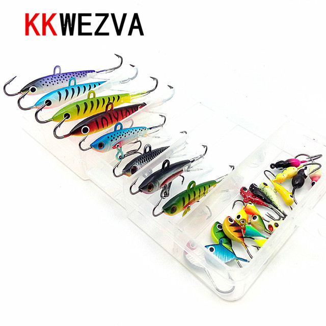 KKWEZVA 26pcs and Boxes Fishing Lure winter Ice Fishing Hard Bait Minnow Pesca Tackle Isca Artificial Bait Crankbait Swimbait