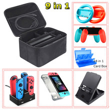 Yoteen Accessories Kit For Nintendo Switch TPU Case Storage Bag & Joy-con Charger Handle Grips And Steering Wheels Desk Stand