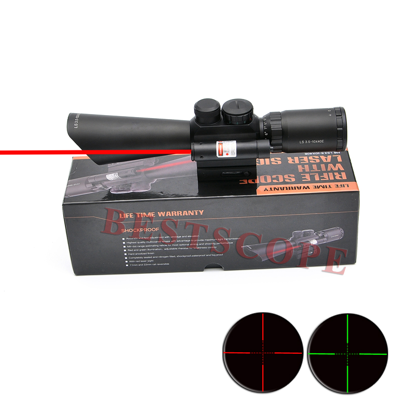 Tactical M8 3.5-10x40 Shooting Riflescope Hunting Rifle Scope Optical Scopes With Red Laser Light Night Vision