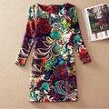 Las nuevas mujeres de invierno dress 2016 fahsion vestidos de la vendimia elegante impresión del o-cuello mujeres casual vestidos vestido de fiesta más el tamaño