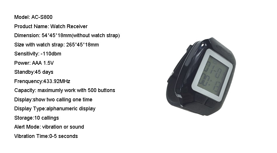 size for watch pager