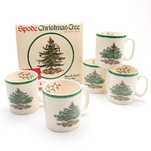 Set of 4 9 Oz England Style Christmas tree mug milk white  New Years gift home coffee Mug Children Drinkware