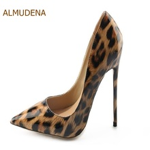 ALMUDENA Celebrity Luxurious Brand Thin High Heel Pumps Leopard Printed Pointed Toe Party Shoes Wedding Shoes Dropship Pumps