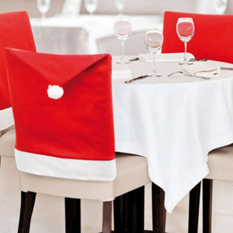 Merry Chiristmas Santa Clause Red Hat Chair Back Cover Non-woven Fabric Seat Cover Dinner Table Party Christmas Decoration