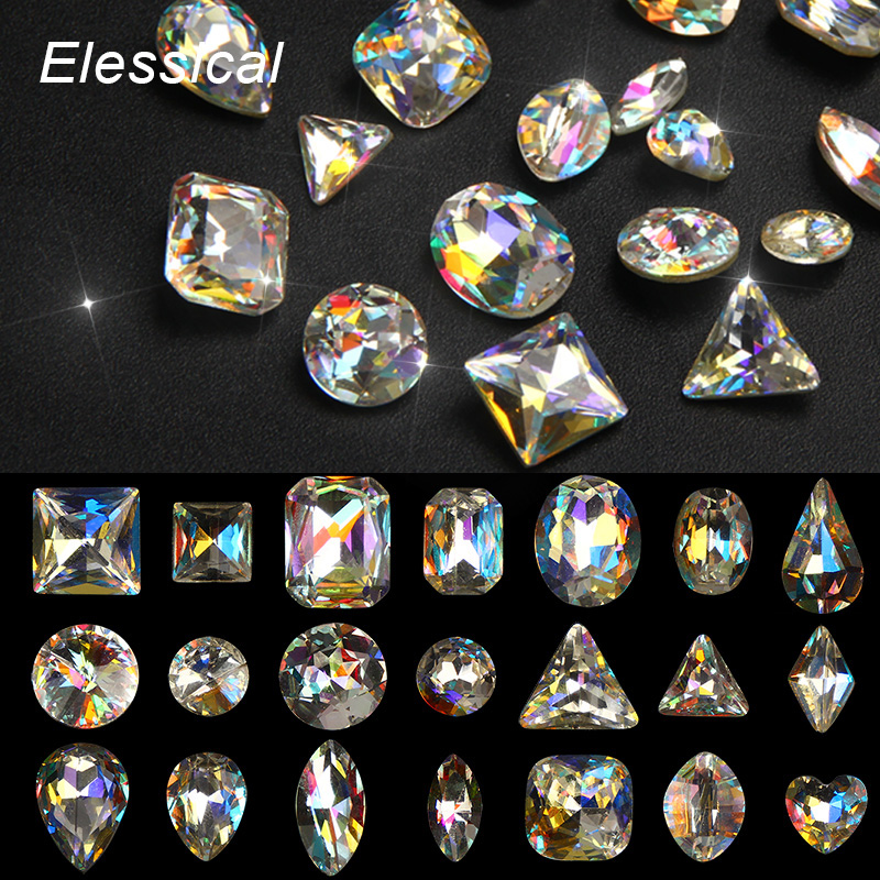 ELESSICAL Glass Crystal Colorful 3D Nail Charm Jewelry AB Rhinestones Geometric Shape All For Nail Art Decorations Manicure Tool 10pcs triangle plastic rhinestones beads crystal nail art sorting trays accessory white nail art tool