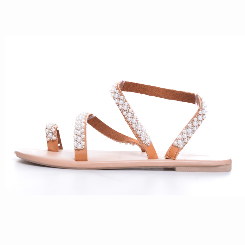 TANGNEST Summer Flat Sandals Sweet Boho Pearl Decoration Sandals Women Beach Sand Holiday Shoes Leather Flats Plus Size XWZ5959