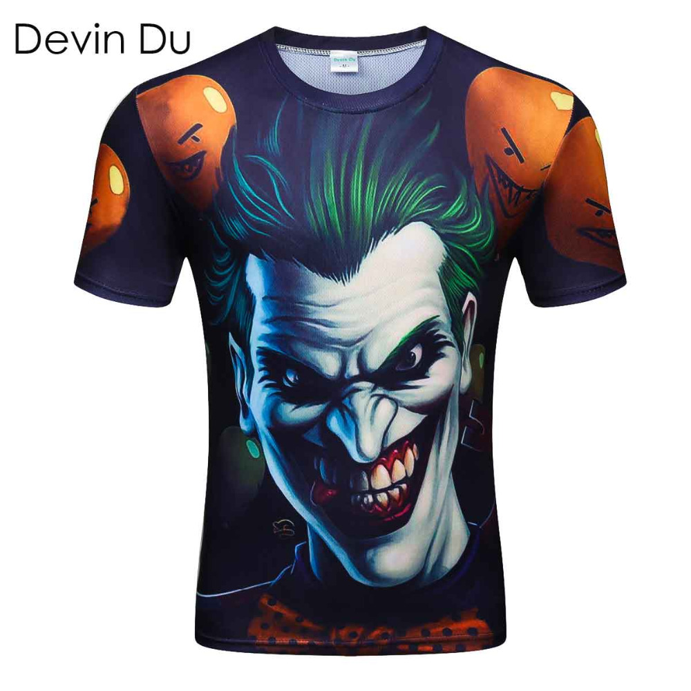 New Style Men T-shirt 3d Print Zombie Clown 3d Tshirts Poker Anime Hip Hop Summer Tops Tees Fashion wholesale