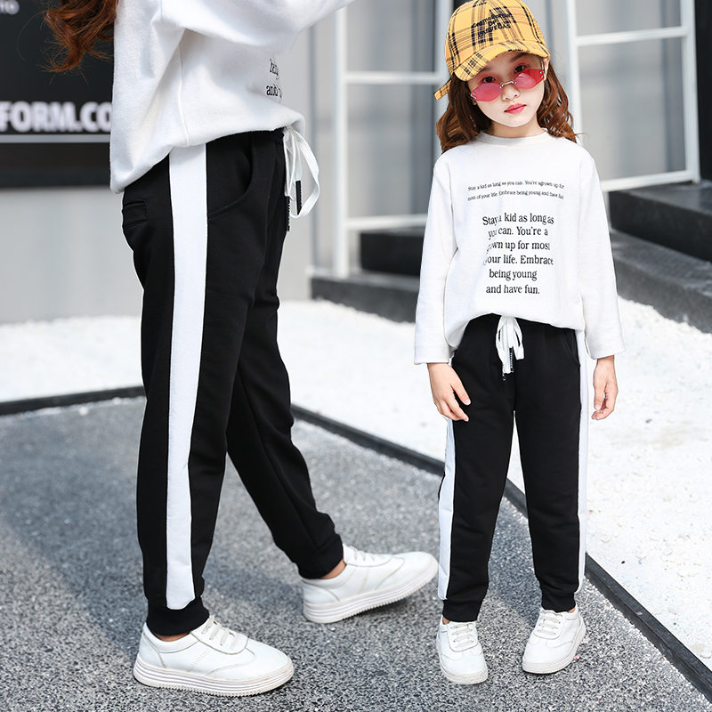 New Fashion Girl Pants Pure Color Side Pipe Sports Leggings for Kid Girls Pencil Kids Sport Trousers Outwear 4-14