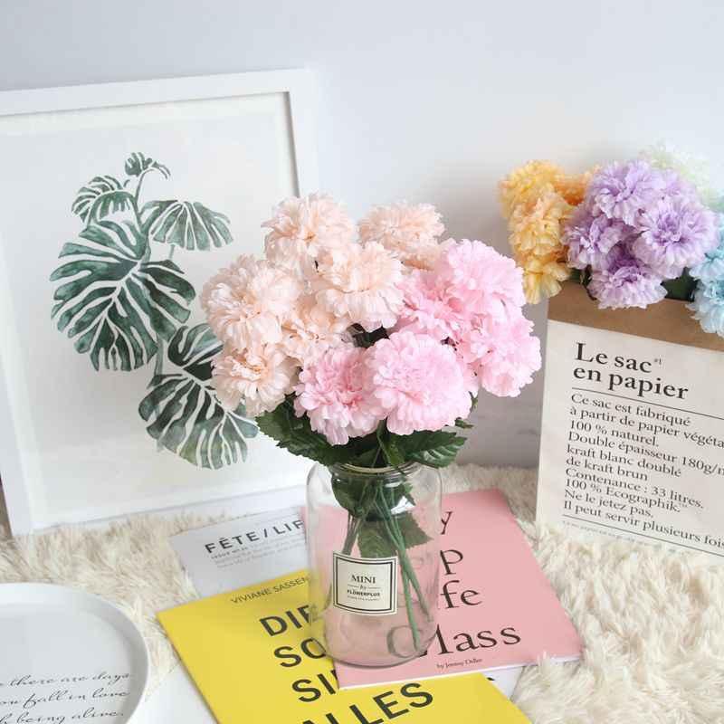 Simulasi Sutra 7 Kepala Mawar Teh Krisan Pernikahan Bunga Rumah Ruang Tamu Dekoratif Bunga Palsu Foto
