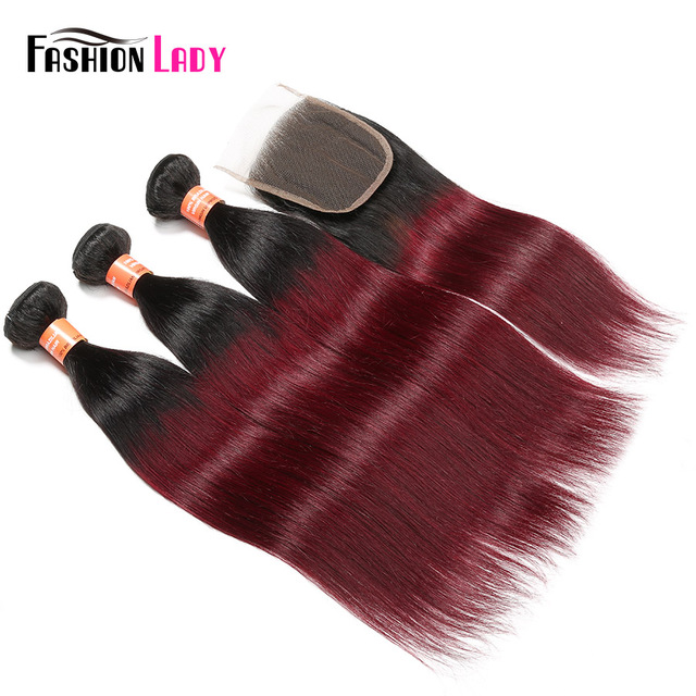 Fashion Lady Pre-Colored Ombre Brazilian Hair 3 Bundles With Lace Closure 1B/ 99J Straight Weave Human Hair Bundles Non-Remy