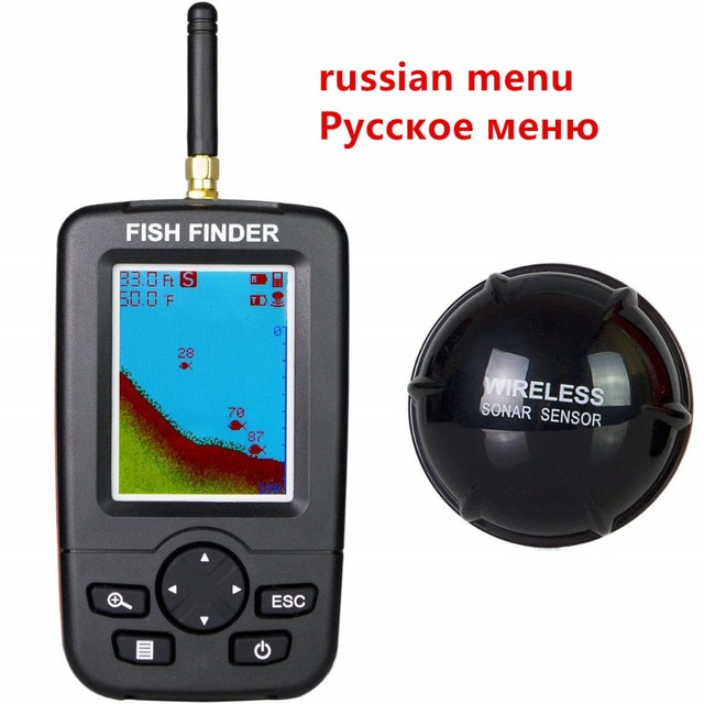 Cheap Russian Menu!!! FFW718 upgraded Wireless Portable Fish Finder 40M/120FT Sonar Depth Sounder Alarm Ocean River Lake
