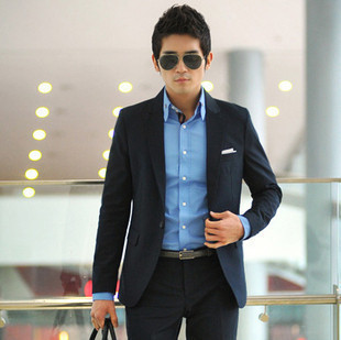 Online Shop Fashion casual navy blue buckle male slim suits tie ...