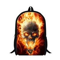 Cool Skull Head School Backpack For Boys Fire Skull Elementary Student Fashion School Bag Mens Ghost