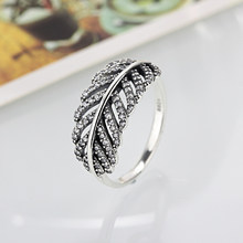 dd72143c8 Octbyna 2018 New Luxury CZ Zircon Silver Color Leaves Feather Finger Rings  Pandora Ring Fine Jewelry Dropshipping