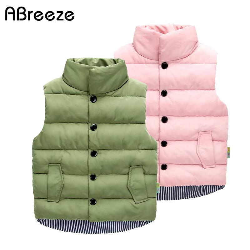 New autumn winter children waistcoats casual solid green pink black vest jackets for girls mandarin collar vest baby girls