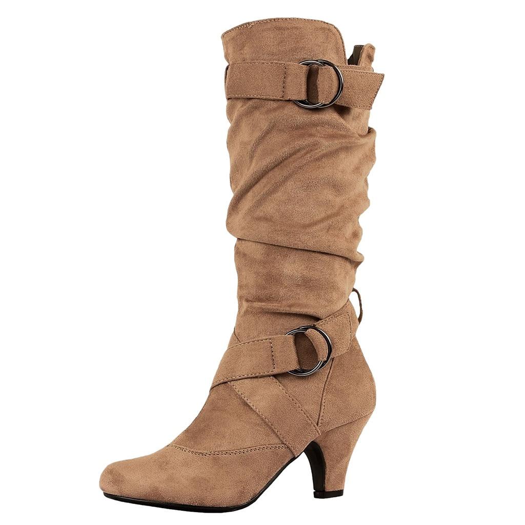 100% QualitäT Muqgew Mode Winter Stiefel Klassische Heels Frauen Retro Kreuz Schnalle Schuhe Runde-toe Halten Warme Hohe Stiefel #1126