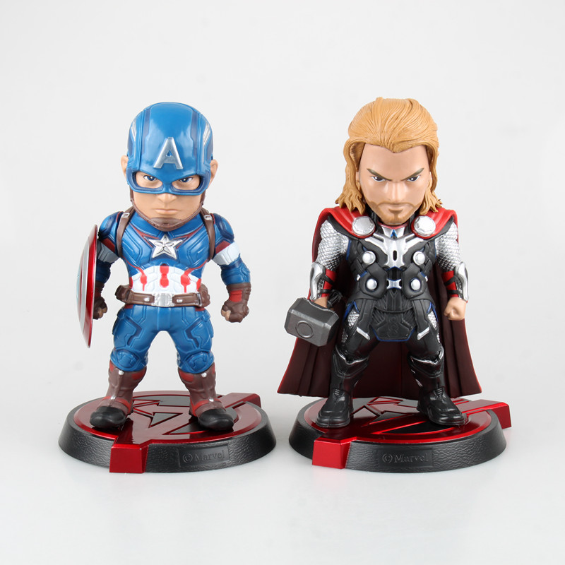 Free Shipping Cute 8 The Avengers Age of Ultron Captain America & Thor EGG Ver Boxed 20cm PVC Acton Figure Model Doll Toys Gift exo 4th album repackage the war the power of music chinese ver korean ver 2 version set release date 2017 09 06