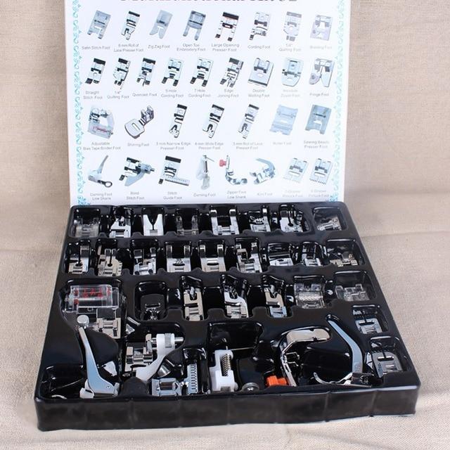 El mejor precio 32 unids de juego de pies de presión de máquina de coser doméstico con caja para Brother Singer Janom