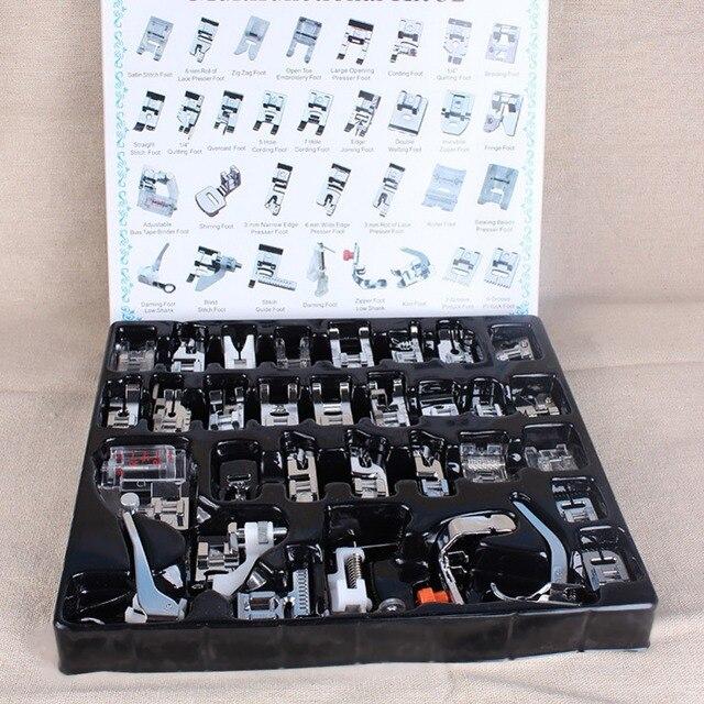 Mejor Precio 32 piezas máquina de coser doméstica prensatelas juego de pies con caja para Brother Singer Janom