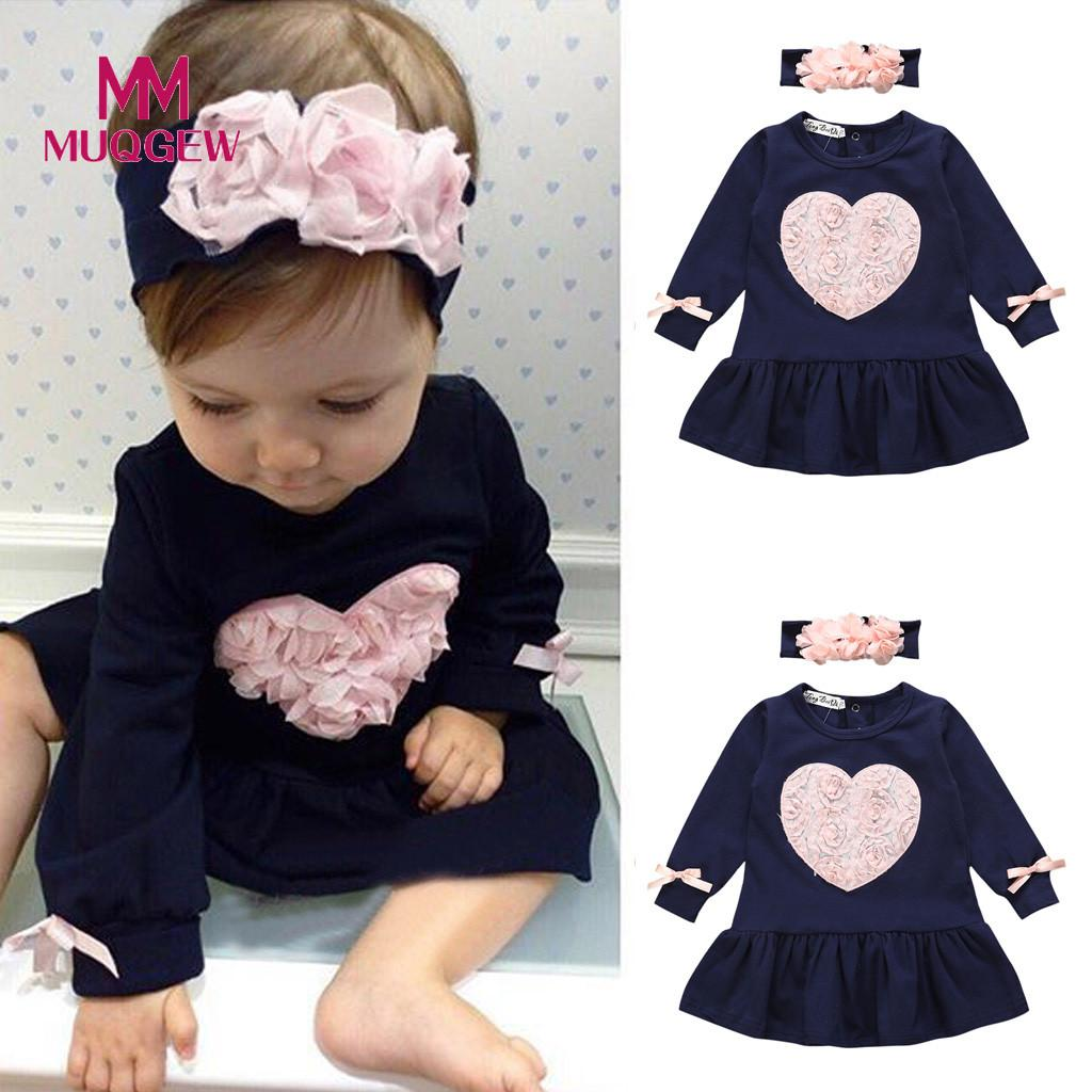 Cute Toddler Infant Baby Girls Spring Auturm Floral Heart Long Sleeve Princess Dresses With Headband Baby Clothes Vestido Bebe