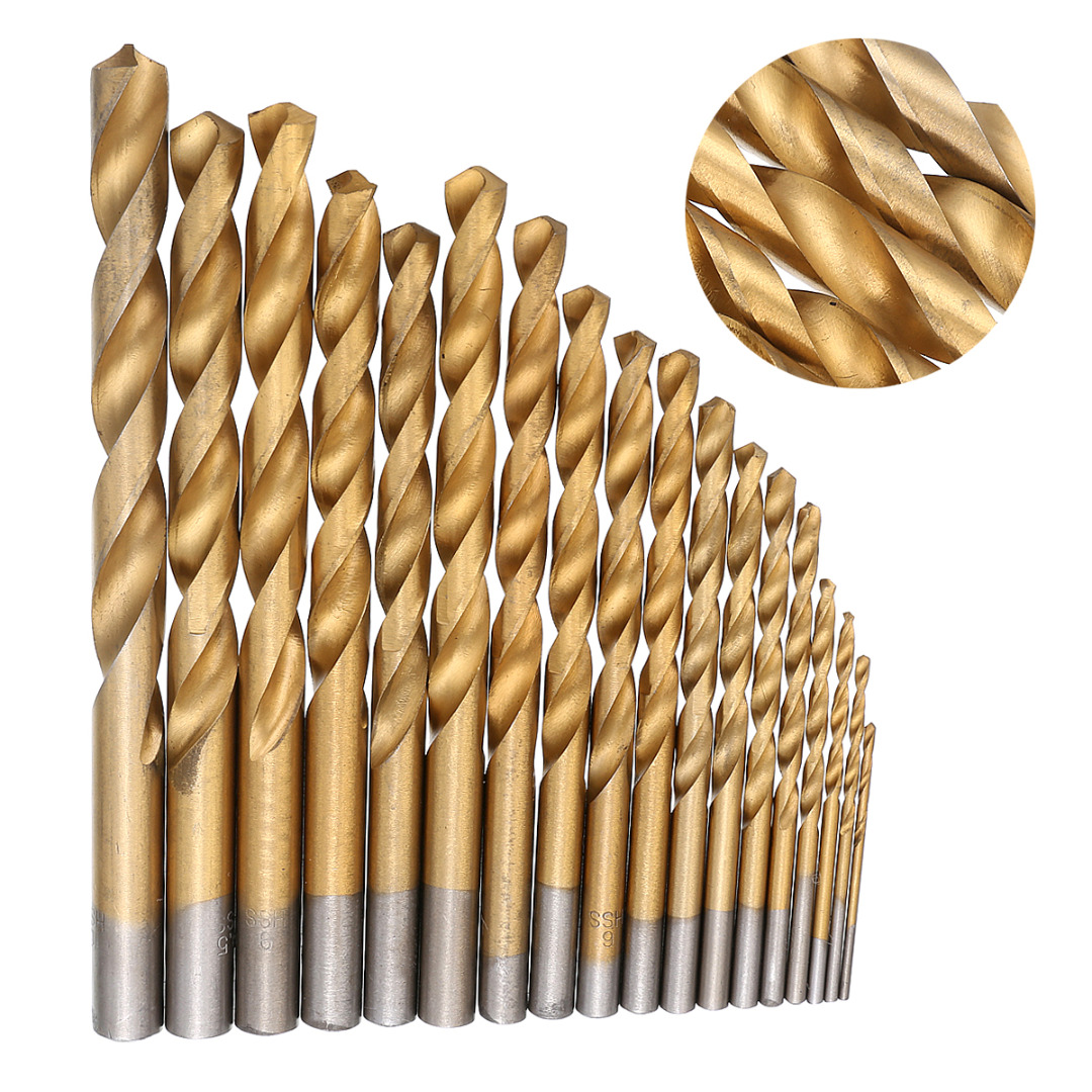 19Pcs HSS Twist Drill Bit Diamond Drill Bit Set 1-10mm Titanium Coated Twist Drill Bit Set for Woodworking Drilling Tools 13pcs lot hss high speed steel drill bit set 1 4 hex shank 1 5 6 5mm free shipping hss twist drill bits set for power tools
