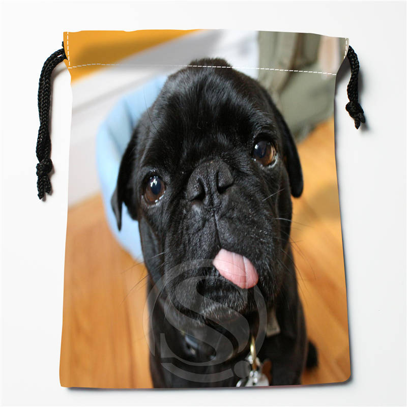 T#!w81 New Pug Dog Puppy Custom Printed  Receive Bag Compression Type Drawstring Bags Size 18X22cm 7&12ft-w81