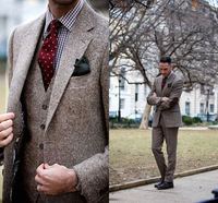 Winter Brown Tweed Suits Vintage Men Suits for Wedding Elbow Patch 3 Pieces Fromal Groom Tuxedos Handsome Male Blazers Jacket