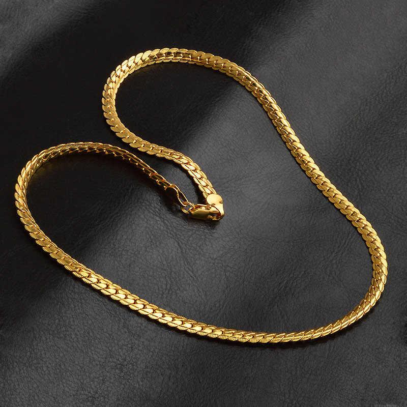 5MM biżuteria mężczyźni kobiety złoty naszyjnik bezdroża wąż łańcuch naszyjnik 24 calowe akcesoria Bijoux Femme Hip Hop biżuteria