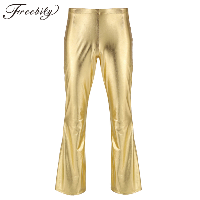 Sexy Fashion Faux Leather Pants Skinny Mens Bottoms Shiny Metallic Disco Flare Pants Bell Bottom Trousers Elastic Waist Pants