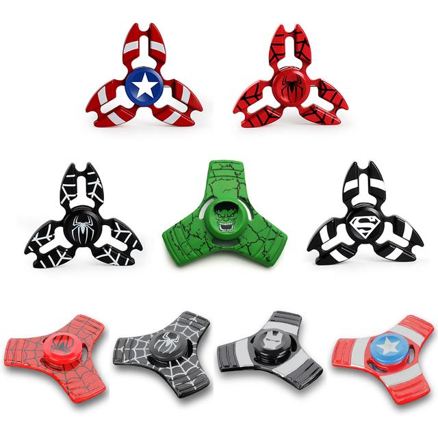 Latest Hero Metal Fidget Puzzle Spinner Hand Newest Iron Man Finger Spinner Spider Man Tri-spinner Adult Kid Child Relax Toy