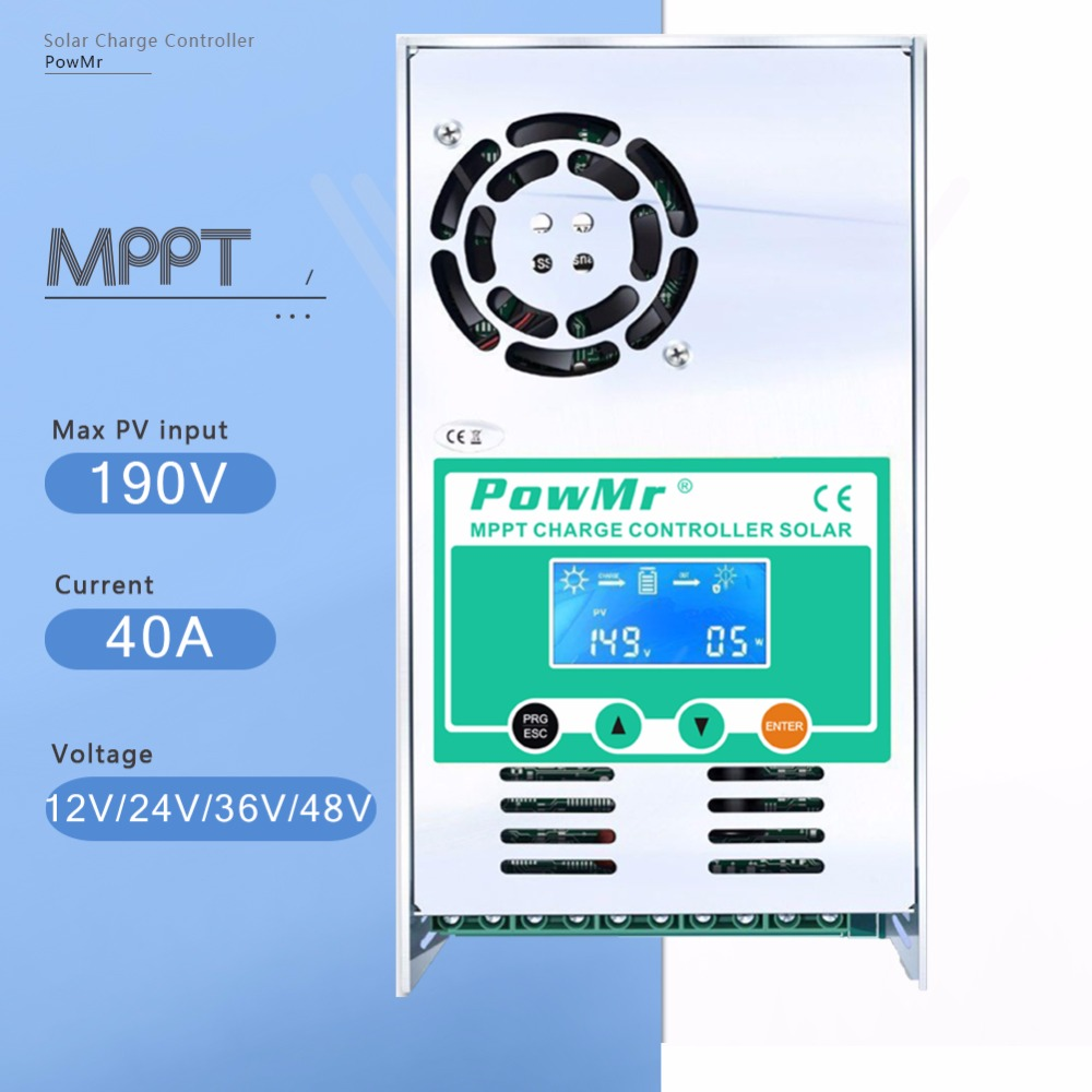 MPPT 40A Solar Battery Charge Controller 12V 24V 36V 48V Auto Solar Charger Regulator LCD Display for Max 190VDC PV Input NEW