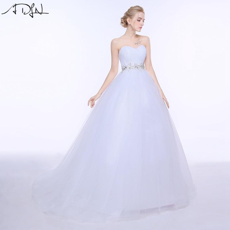 ADLN 2019 Elegant A-line Puffy Brudekjole Med Perler Sweetheart Ærmeløs Tulle Stock Korset Brudekjole Vestidos de Novia