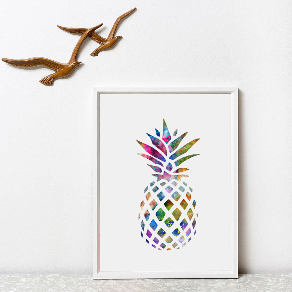 Watercolor pineapple art poster wall art home decor gift for Ananas dekoration