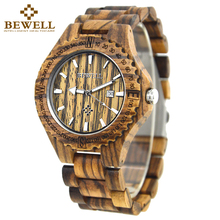 BEWELL Men Watches Male Business Wood Watch Man Dress Quartz Watch Waterproof Date Fashion Wrist Watch Clock relojes hombre 023A