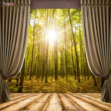 Yeele Forest Curtain Sunshine Wooden Floor Photography Backgrounds Personalize Photographic Backdrops Photocall For Photo Studio