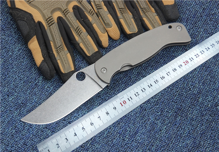 Folding Pocket font b knife b font new SPY CPM 10 blade Titanium handle outdoor camping