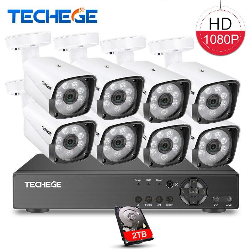Techege 8CH 1080 p Sistema di Telecamere di Sicurezza 8ch DVR 1080 p HDMI Uscita Video Impermeabile Macchina Fotografica Della Pallottola 2MP Telecamera di Sorveglianza kit