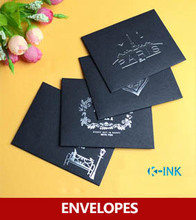 100pcs / lot , 120GSM Black Hot Stamping Envelopes , Thank you / Love / Happy Day / Paris Mini Envelopes