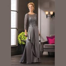 Vestidos Madre de la Novia 2019 Gray Beaded Mother of the Bride Dresses 3 4 Sleeves