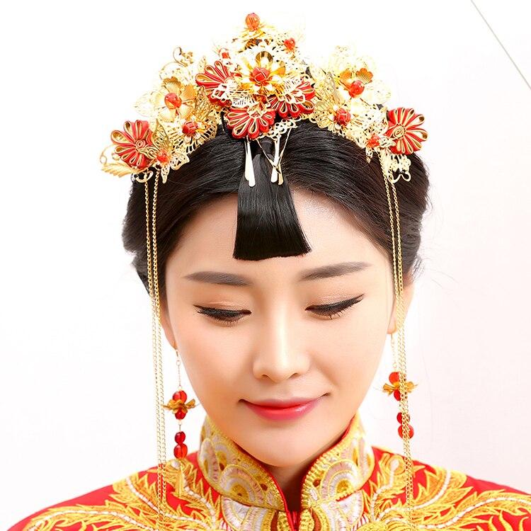 Guan Zhui Traditional Chinese Wedding Bride Hair Tiaras for Xiuhefu Hair Accessory Set for Costume 00009 red gold bride wedding hair tiaras ancient chinese empress hair piece