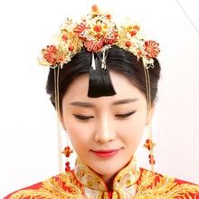 Guan Zhui Traditional Chinese Wedding Bride Hair Tiaras for Xiuhefu Hair Accessory Set for Costume